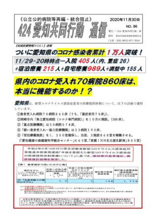 NO86-愛知県累計1万人突破!病床は機能するのか!(2020-11-30).pdfのサムネイル